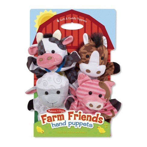 Melissa & Doug Farm Friends Hand Puppets (Set of 4) - Cow, Horse, Sheep, and Pig - image 1 of 4