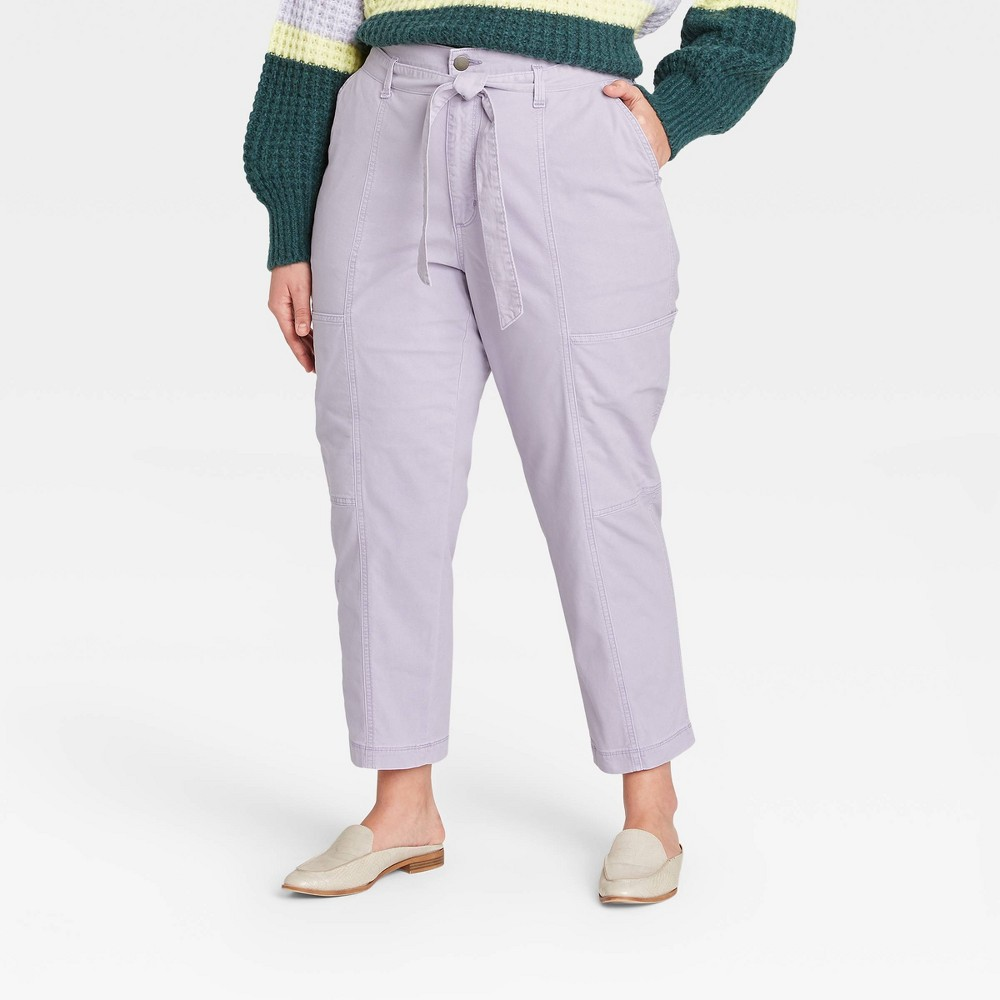 Women 39 S High Rise Tapered Cropped Pants Universal Thread 8482 Purple 16w