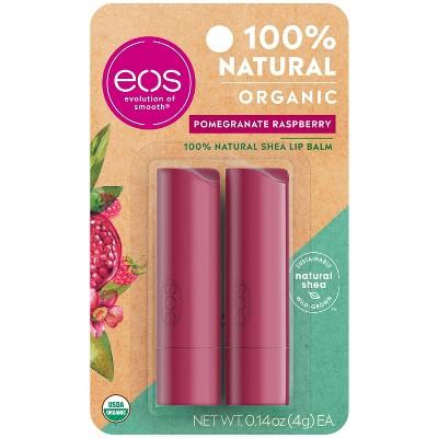 eos 100% Natural & Organic Lip Balm Sticks - Pomegranate Raspberry - 2pk
