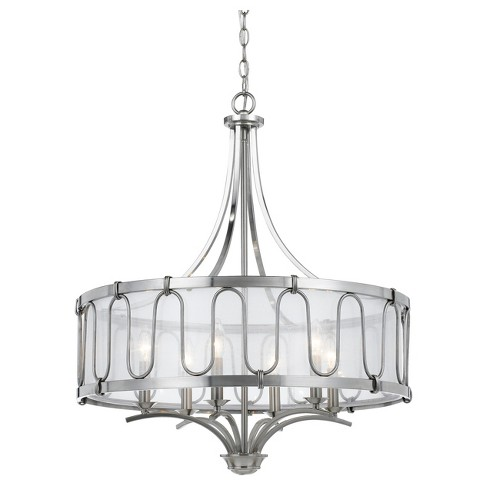 Vincenza Metal Chandelier With Transparent Fabric Shade 60W X 6 - image 1 of 1