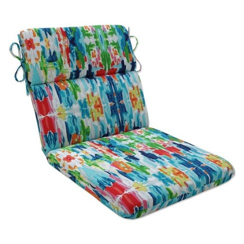 """18.5"""" x 15.5"""" Outdoor/Indoor Rounded Chair Pad Abstract Reflections Multi Blue - Pillow Perfect - image 1 of 1"""