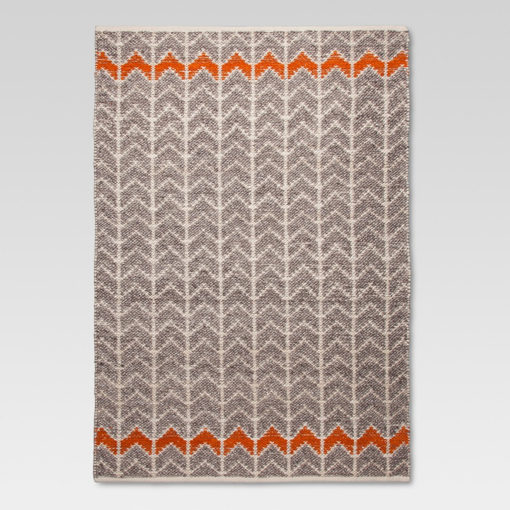 Flatweave Chevron Rug - Gray/Orange (5'x7') - Threshold, Orange Gray