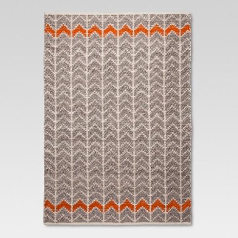 Flatweave Chevron Area Rug Gray Orange Threshold