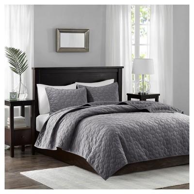 Gray Mercer Polyester Velvet Quilt Set (Full/Queen)