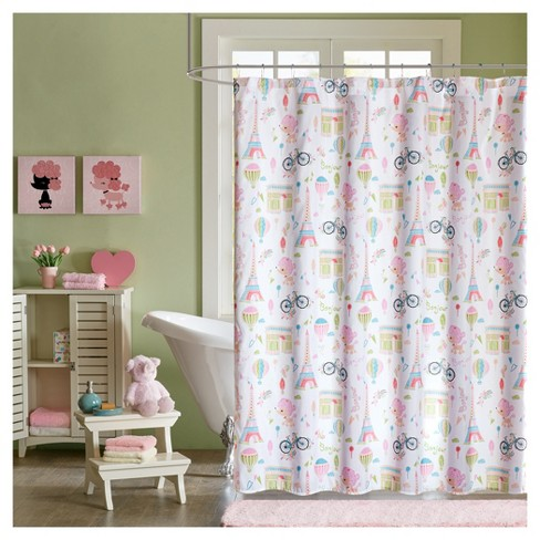 Poodles In Paris Microfiber Printed Shower Curtain Pink Target
