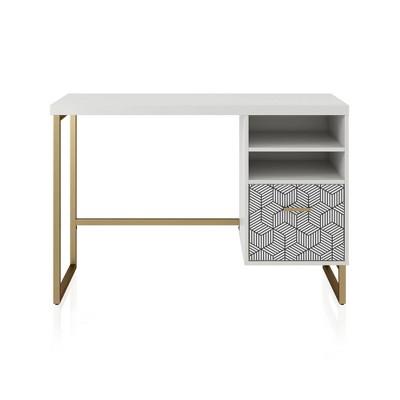 Scarlett Single Pedestal Desk White - CosmoLiving by Cosmopolitan
