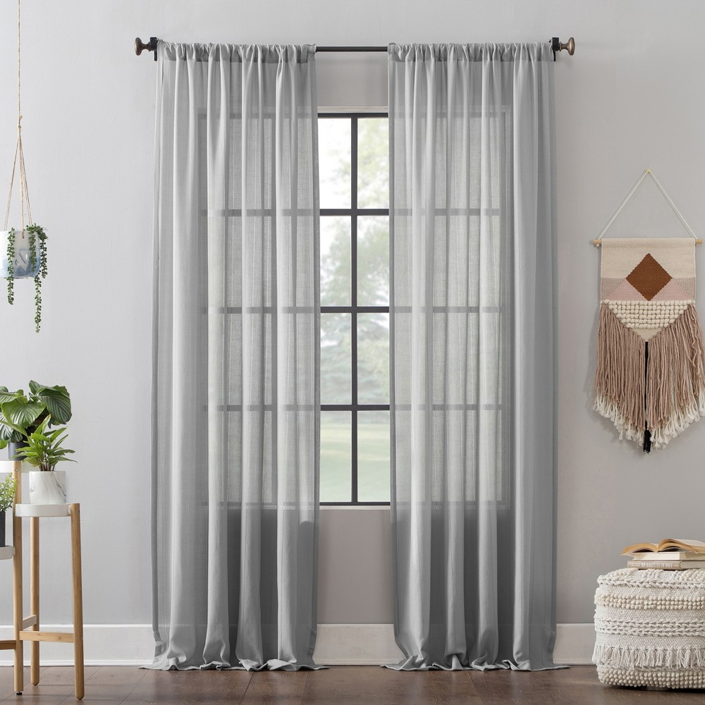 "Image of ""52""""x84"""" Leno Weave Stripe Anti-Dust Curtain Panel Gray - Clean Window"""