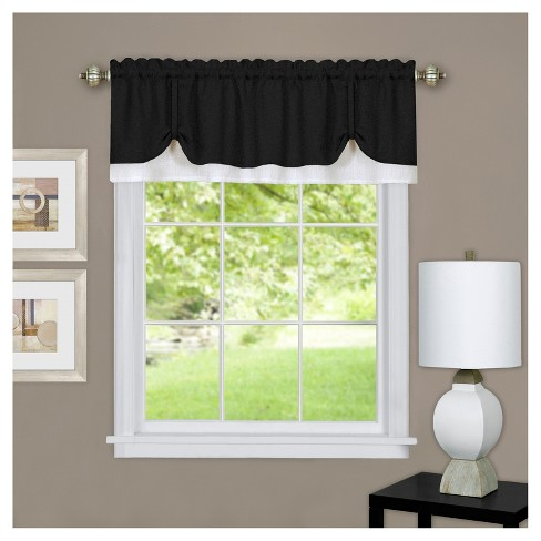 "Darcy Window Curtain Valance Black/White (58""x14"") - Achim - image 1 of 1"