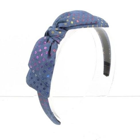 Girls' Sequin Denim Headband - Cat & Jack™ Blue - image 1 of 1