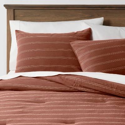 Full/Queen Simple Woven Stripe Comforter & Sham Set Rust - Threshold™