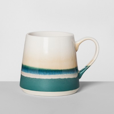 Stoneware Reactive Mug 16oz Teal/Tan - Opalhouse™