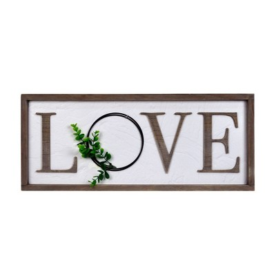 "25"" x 10"" Love Barnwood Wall Panel with Greenery Whitewashed - Prinz"