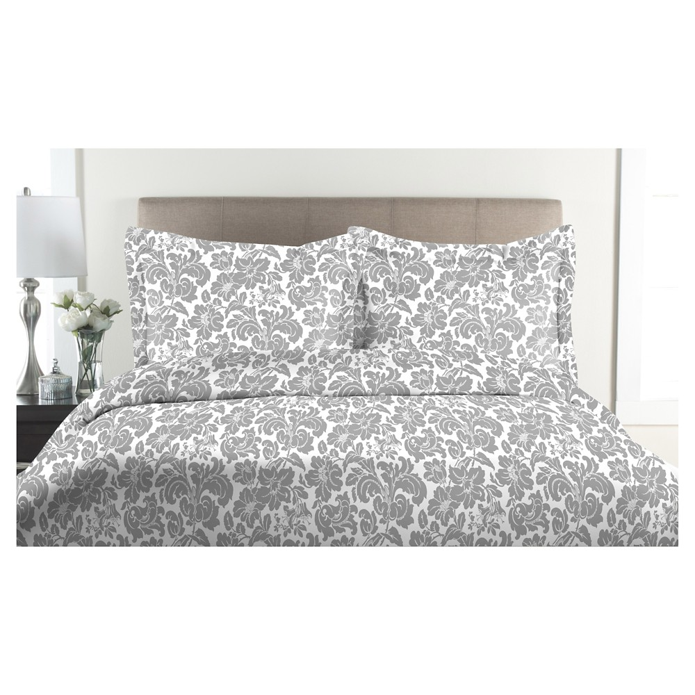 300tc Avalon 100% Cotton Print Duvet Set (Twin) Pewter (Silver)