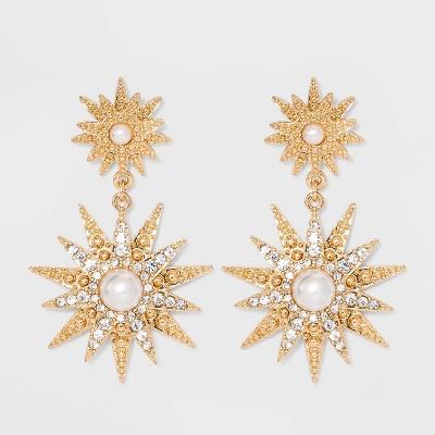 SUGARFIX by BaubleBar Celestial Drop Earrings - Gold