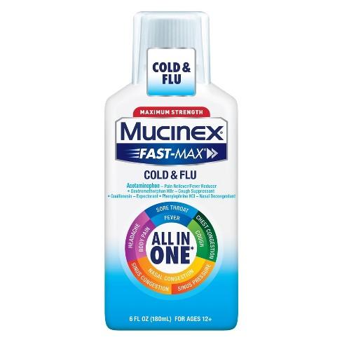 Mucinex Fast Max Cold Flu Relief Liquid Acetaminophen 6 Fl Oz