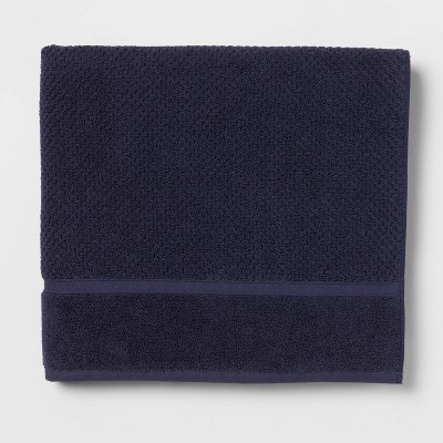 Performance Bath Towel Navy Blue Texture - Threshold™