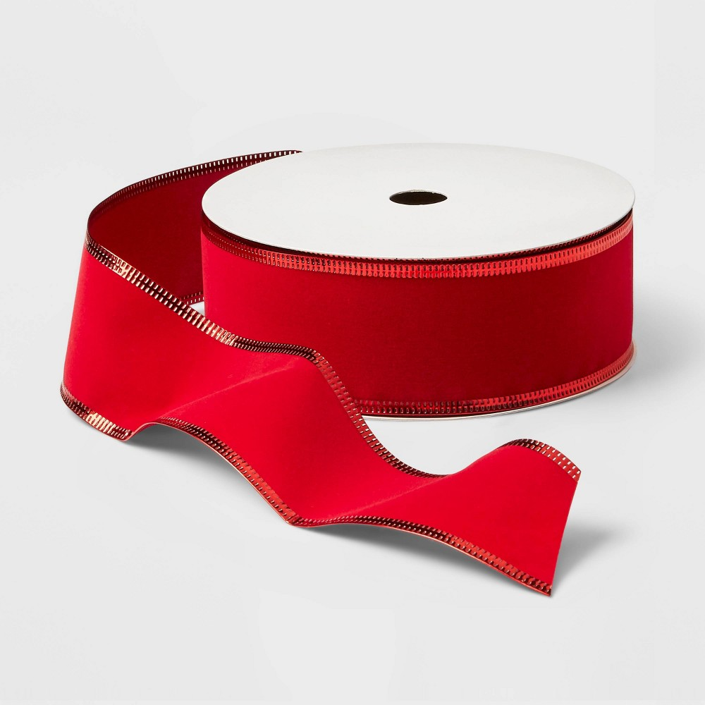 "Image of ""2"""" Velvet Ribbon Red 100ft - Wondershop"""