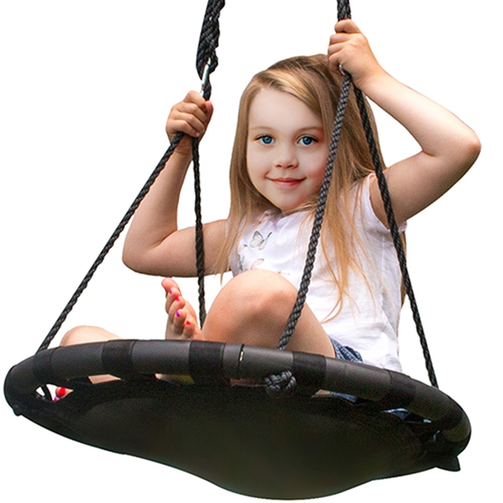 "Image of ""Fabric Spinner Swing 24"""" Diameter - Black - Sorbus"""