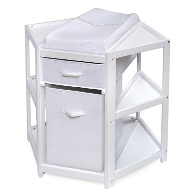Badger Basket Diaper Corner Baby Changing Table with Hamper and Basket - White