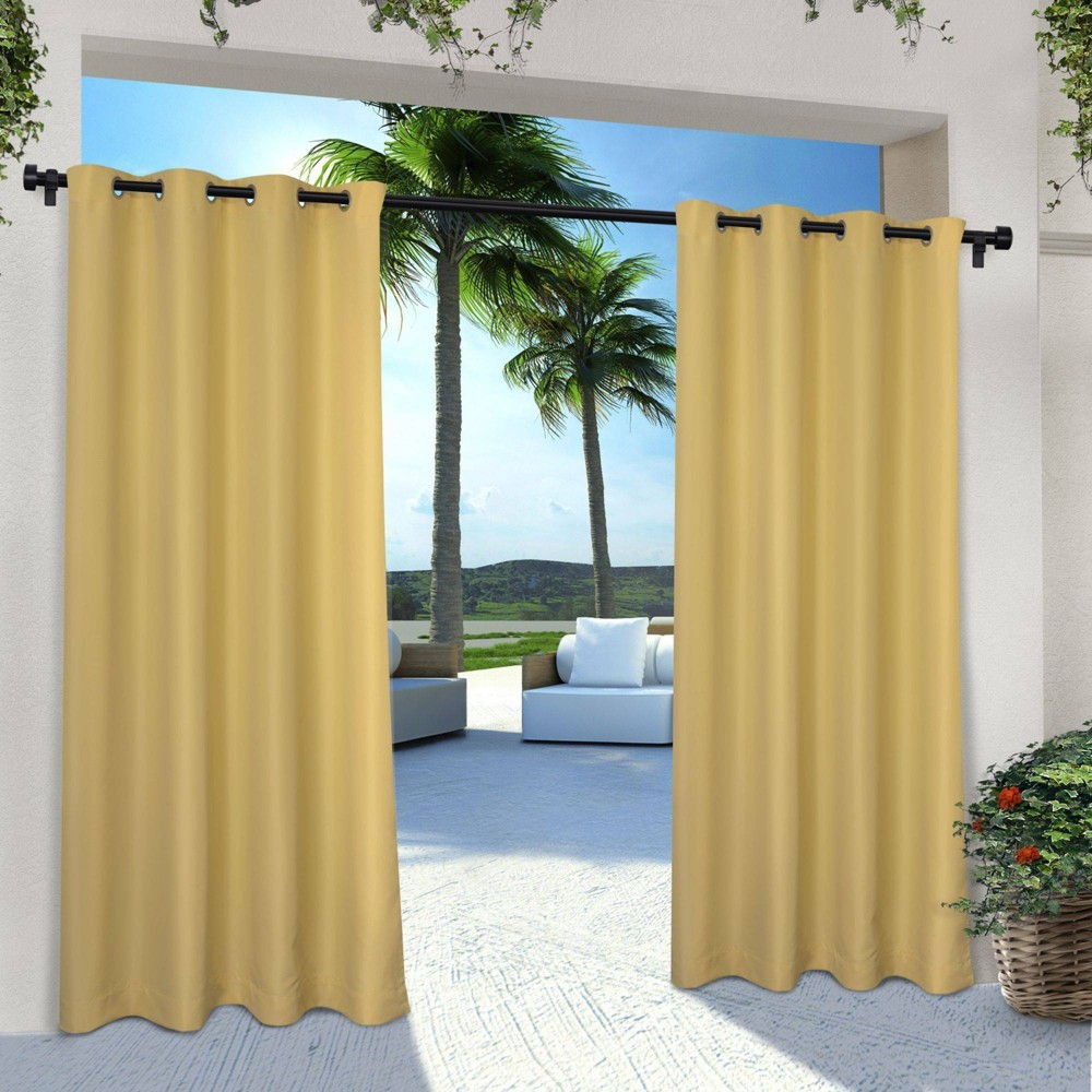 Set Of 2 108 34 X54 34 Outdoor Solid Cabana Grommet Top Light Filtering Curtain Panel Yellow Exclusive Home