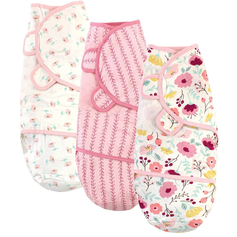 Touched By Nature Unisex Baby Organic Cotton Swaddle Wraps Botanical 0 3 Months