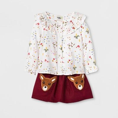 Toddler Girls' 2pc Long Sleeve Challis Top and Deer Skirt Set - Genuine Kids® from OshKosh Almond Cream/ Maroon 12M