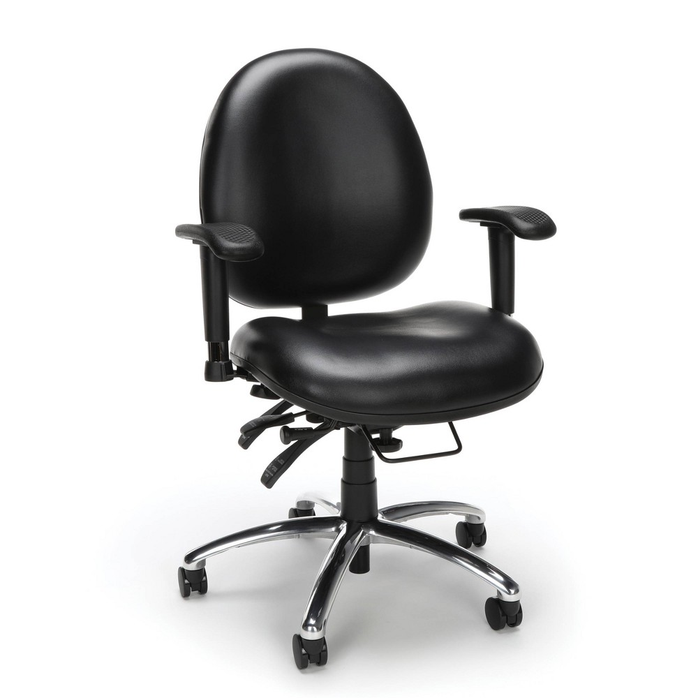 Image of 24 Hour Big and Tall Ergonomic Anti Bacterial Vinyl Computer Swivel Task Chair Black - OFM