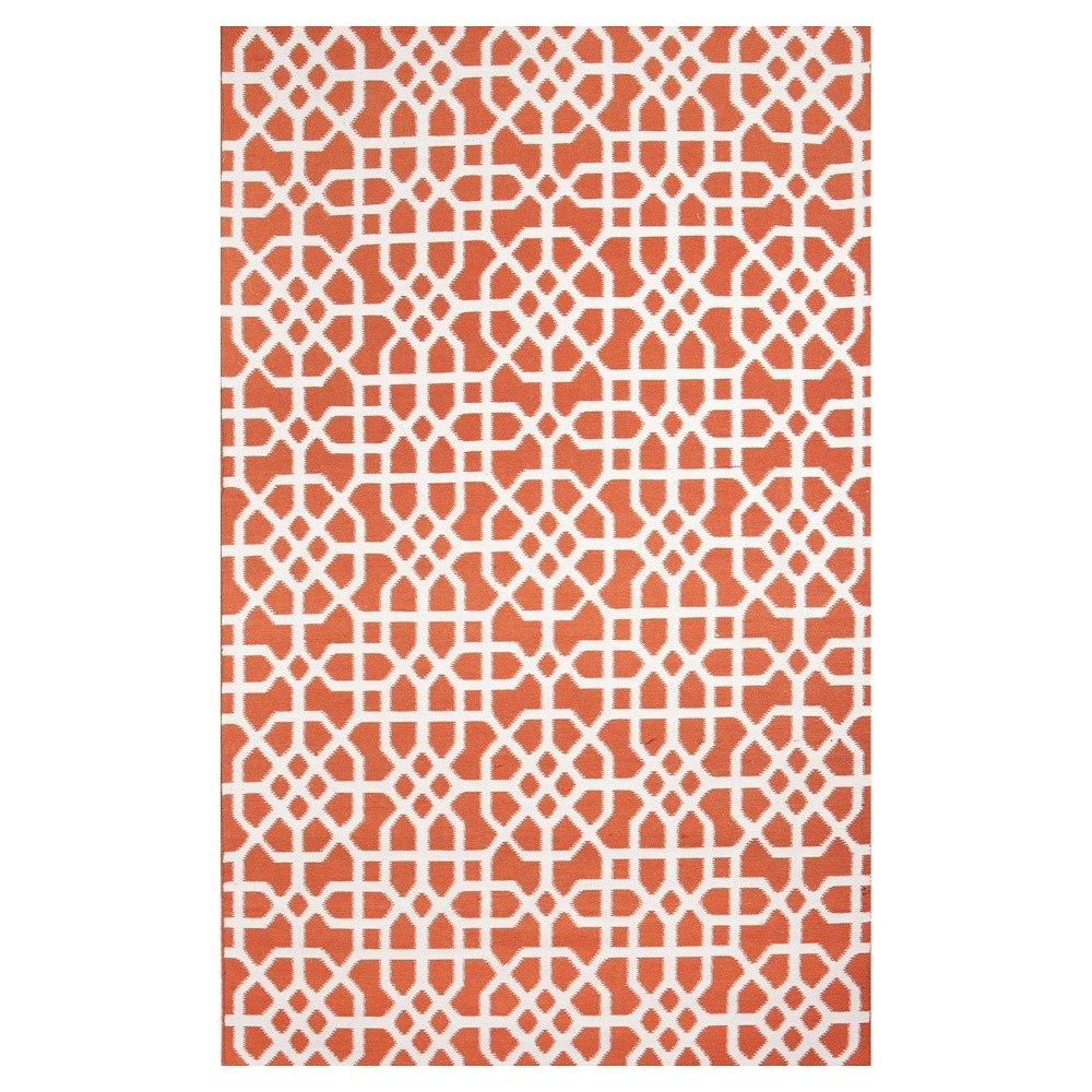 Tuft & Loom Indoor/Outdoor Fretwork Area Rug - Coral/Cream (8'x10'), Coral Red