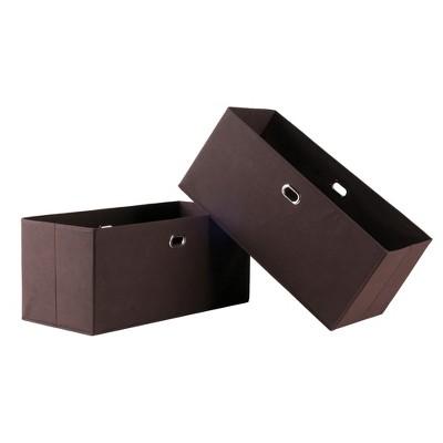 2pc Torino Folding Fabric Basket Chocolate - Winsome