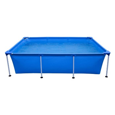 JLeisure Avenli 17773 Outdoor Backyard 10 x 6.5 x 2 Feet Above Ground Rectangular Steel I Frame Swimming Pool with Repair Kit, Blue
