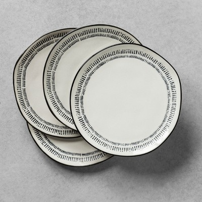 4pk Salad Plate Embossed Black / White - Hearth & Hand™ with Magnolia