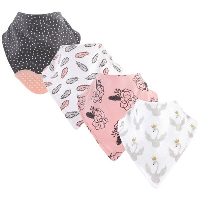 Yoga Sprout Baby Girl Cotton Bandana Bibs 4pk, Spread Your Wings, One Size