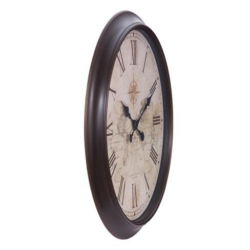 30 X30 Bronze Antique World Map Wall Clock Patton Decor Target