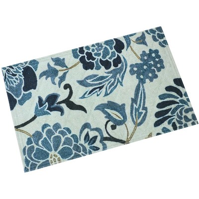 """1'11""""x2'11"""" Rectangle Floral Accent Rug Blue - Sunnydaze Decor"""