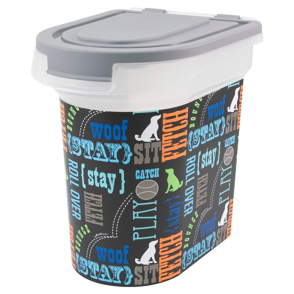 Paw Prints Word Play Design Pet Food Storage Bin - S, Blue/Gray/Orange