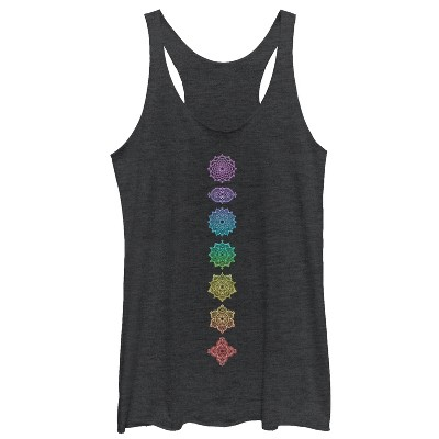 Women's CHIN UP Rainbow Chakra Racerback Tank Top