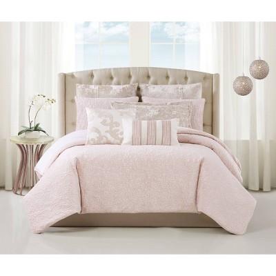 Charisma Melange Quilted Velvet 3 Piece Comforter Set - Pink