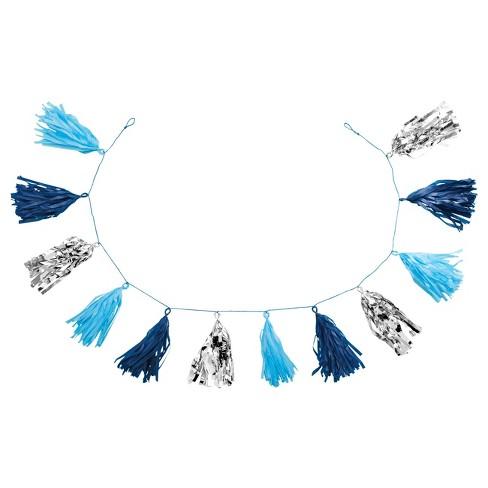 """82"""" Tassel Garland Blue/Silver - Spritz™ - image 1 of 1"""