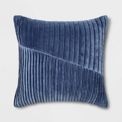 Pleated Velvet Square Throw Pillow Blue - Project 62™