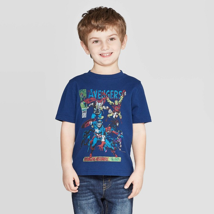 Toddler Boys' Marvel Classic Cover T-Shirt - Navy - image 1 of 3