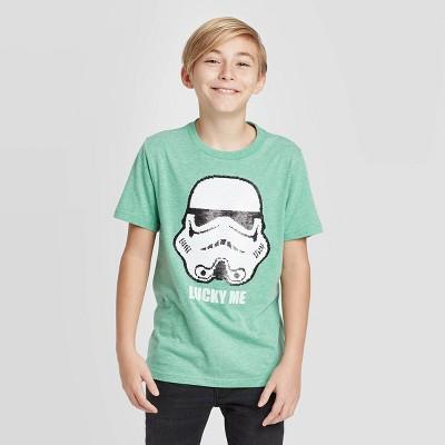 Boys' Star Wars Stormtrooper Flip Sequin St. Patrick's Day T-Shirt - Green