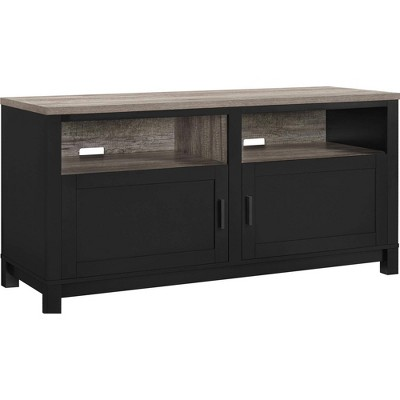"60"" Paramount TV Stand Black/Distressed Brown Oak - Room & Joy"