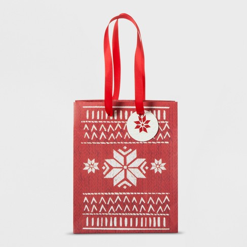 Red Sweater Pattern Gift Bag Small - Wondershop™ - image 1 of 1