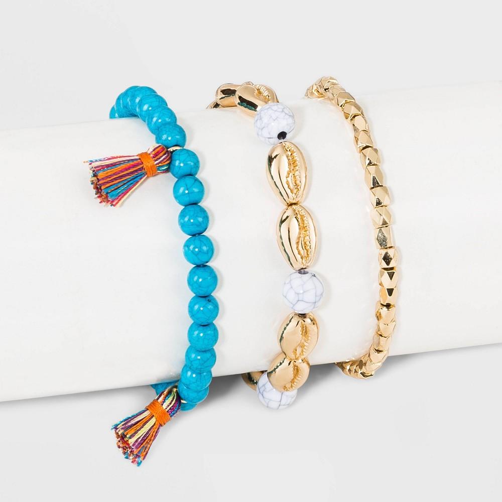 03df5ed75a36e Sugarfix by BaubleBar Mixed Media Shells Bracelet Set Womens Multi ...