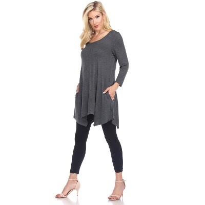Maternity 3/4 Sleeve Kayla Tunic with Pockets - White Mark