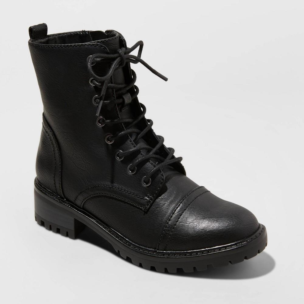 Women 39 S Kamryn Wide Width Lace Up Combat Boots Universal Thread 8482 Black 5 5w