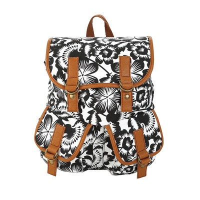 Staples Windsor Backpack Black and White Floral Pattern (52426)