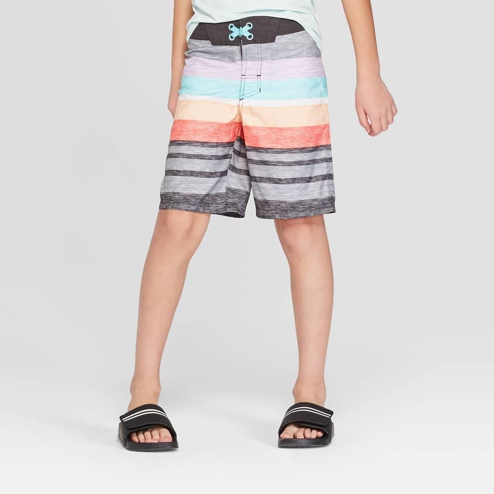 Boys' Heathered Placed Stripe Swim Trunks - art class Gray 12
