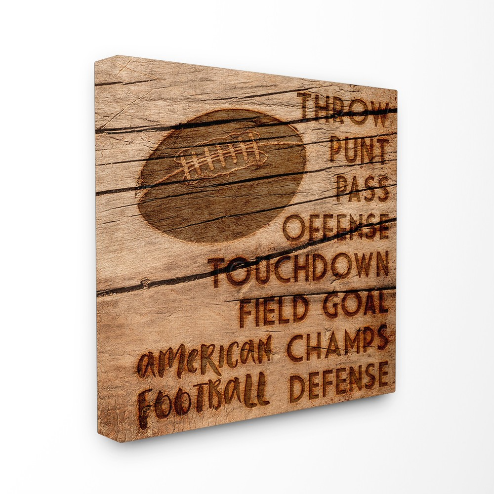 Football Planked Wood Look Stretched Canvas Wall Art (24