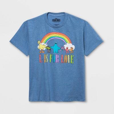 Pride Gender Inclusive Kids' Sesame Street Short Sleeve T-Shirt - Light Blue
